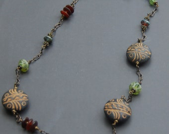 Ethnic Long Necklace with  African Mali beads, Horn Beads and Czech Glass
