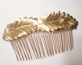 Gold Swarovski Crystal Metal Leaves Hair Comb, for Bridal, weddings, evening, parties, special occasions