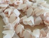 Blush chiffon lace trim with ribbon, leaf wedding sash, chair decor lace trim 2 yards