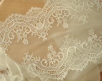 Ivory Chantilly Lace Fabric Trim, Bridal Wedding Gown Eyelash Lace Fabric 3 Yards