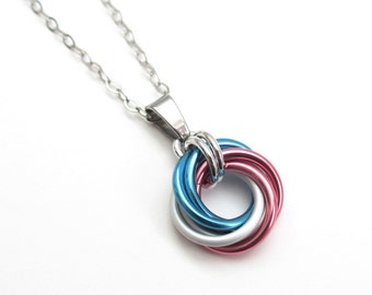 Transgender pride pendant necklace, chainmail love knot, trans pride jewelry, pink white blue