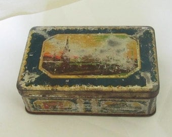 "Vintage rare Metal tin tea Box  from 50"", metal patina"