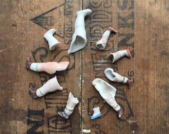Broken Antique German Bisque doll legs, excavated doll parts,  from Elizabeth Rosen