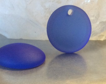Sea Glass Pendant Royal Blue Round Coin Concave 25mm QTY 1