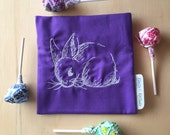 Purple and White Bunny Rabbit Pouch for Personal Items, Privacy Bag