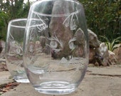 Single Cat stemless wine glass  clear glasses hand engraved