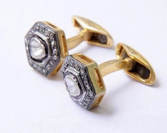 Clearance Sale Antique Victorian Inspired Cuff Links 1.5ct Diamond with Enamel Work Mens Unisex Cufflinks 18k Yellow Gold