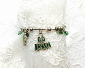 Irish Bangle Bracelet, Go Irish, VIntage Charm, Green Beads, HALF OFF SALE, Item No. B632