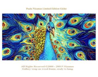 Peacock - Abstract Art Giclee Print on canvas Home design decor Paula Nizamas bird animal ready to hang