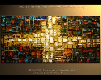 """Oil and Acrylic painting - 48"""" Large contemporary Art Original Abstract Nizamas Hand Painted ready to hang earth colors"""