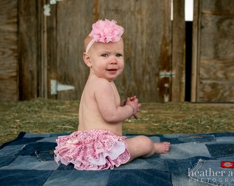 A Beautiful Parley Ray Pink Bandana Cowgirl Western Ruffled Diaper Cover/ Baby Bloomers/ Photo Prop