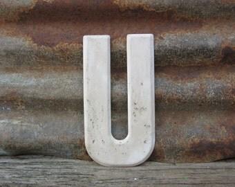 Letter Sign Vintage Metal Letter U Sign 7 1/2 Inch Distressed Aged White Marquee Sign Wall Art vtg Alphabet Letter Advertising Old