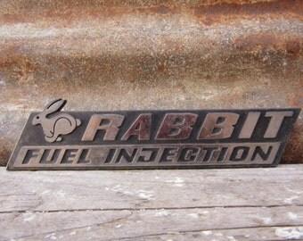 Vintage Volkswagen Rabbit Fuel Injection Car Emblem ar Badge Plastic Auto Emblem Badge Chrome Stocking Stuffer Collectible Old Automobile