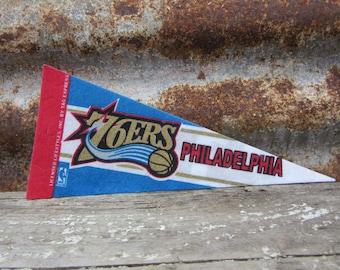 Vintage Basketball Pennant Philadelphia 76ers Team 1990s Era NBA Small Mini Felt Pennant Banner Flag vtg Collectible Vintage Display Sports