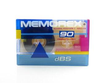 Retro Cassette Tape Vintage 1980's Memorex Blank 90 Minutes NOS Factory Sealed