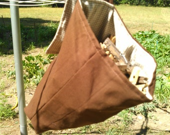 Brown Hanging Clothespin Bag