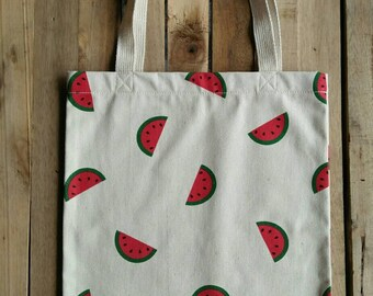 Watermelon Printed Cotton Tote / Book Bag