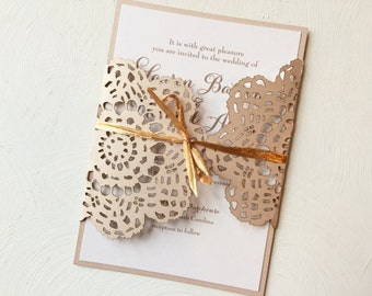 Laser Cut Wedding Invitation, Lace Laser Cut Wedding Invitation in Neutral Colors