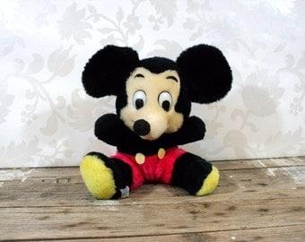 Mickey Mouse plush toy, 1980's,  Walt Disney Prods, made in Korea, fswp