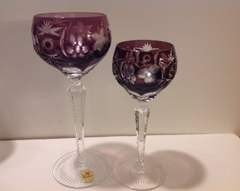 Amethyst Nachtmann Cut Crystal Wine and Sherry Goblet PAIR with Original Nachtmann Sticker label, Cut to Clear, Excellent Condition