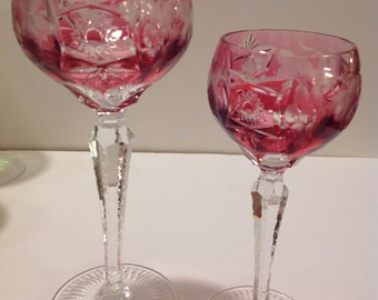 Cranberry Red Nachtmann Cut Glass Lead Crystal Wine and Sherry Glass PAIR, Cut to Clear, Excellent Condition