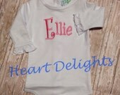 Infant Baby Girl Newborn One Piece Applique Monogram Long Sleeve with Ruffle