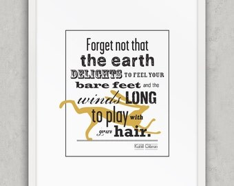 Forget Not, Kahlil Gibran Quote Print, Mustard and Black Decor, Folk Wall Art, Nature Quote Wall Art, Printable Art