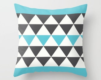 3 colours, Bold Triangles Pillow Cover, Faux Down Insert, Charcoal Black and Aqua Blue pillow, Geometric, Indoor or Outdoor pillow cover