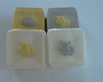 Grey and Yellow Hippo Soap Favors