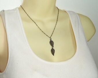 Black Leaf Pendant - Captivating Double Leaves Pendant Necklace with Delicate Matte Black Leaf Pendant on Choker Chain