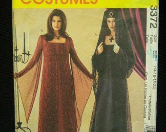 Gothic, Renaissance Dress Costume Pattern McCall's 3372 Sizes 14, 16, 18, 20