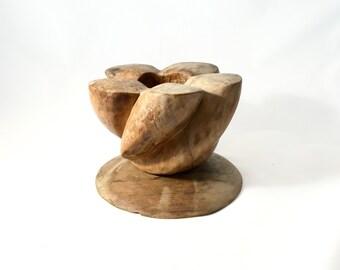 Vintage Carved Wood Vase, Candleholder, Africa