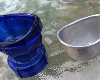 "Vintage 40's  ""LAVOPTIK"" Aluminum Tin Eye Bath Cup - 50's ""WYETH"" Eye Wash Cup"