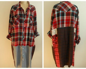 Upcycled plaid XX Large Flannel Shirt Dress Duster