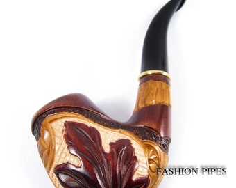 "Exclusive Pipe Carved ""Maple Leaf"" Canadian Tobacco pipe, Wooden pipe Handcrafted, Limited Edition Tobacciana pipe."