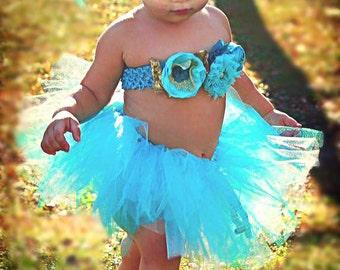 Photography Tutu Set , Baby Tutu Set, Birthday, Photo Shoot, Photo prop, Birthday Mash, Blue/ Gold tutu Set