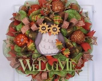 Mesh Wreath Fall, Mesh Wreath Owl, Welcome Wreath, Burlap Wreath, Pumpkins
