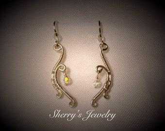 Handmade Sterling silver curved earrings