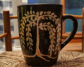 Primitive, Willow tree, black coffee mug, Primitive blessings, rustic, hand painted, porcelain mug