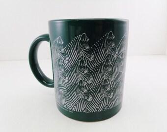 Vintage Zebra Mug / Cup San Antonio Green White 1989