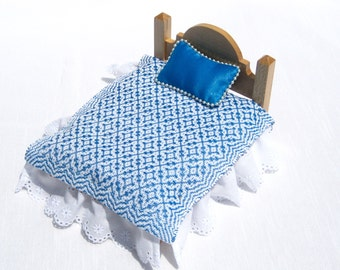Dollhouse Coverlet Miniature Handwoven Coverlet Peacock Blue Periwinkle Coverlet 12th Scale Blanket Small Doll Bedding Mini Blue Bedding