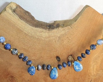 Wear the Sky Around Your Neck Sodalite & Lapis Lazuli Fan Necklace Denim Lapis Tears on a Sodalite Beaded Near Choker Serenity with Clouds