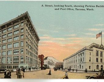 Vintage Postcard, Tacoma, Washington, A Street Looking South, 1912