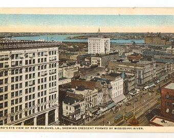 Linen Postcard, New Orleans, Louisiana, View Showing Crescent Formed by Mississippi River