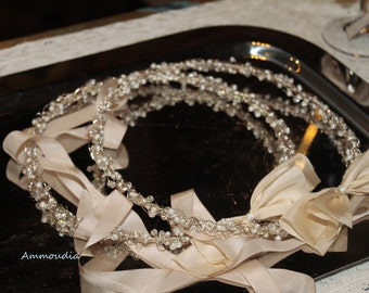 Fairytale sterling silver wedding wreaths  with swarovski crystals,freshwater pearls and silk ribbons set of 2-wedding crowns stefana