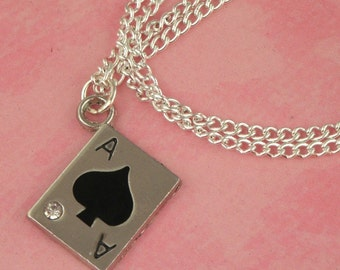 Ace of Spades Playing Card Charm Necklace - Vintage Inspired - Rockabilly Pinup Jewellery - Retro Tattoo Necklace - Casino Gift