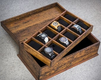Watch Box, Men's Watch Box, Watch Box for Men, Wood Watch Box, Watch Display , Custom Watch Box for 12 watches with drawer