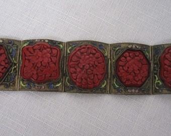 Antique Chinese Cinnabar Bracelet
