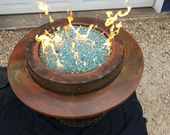 Wine barrell Fire Table Propane fueled with Exotic Fire Glass
