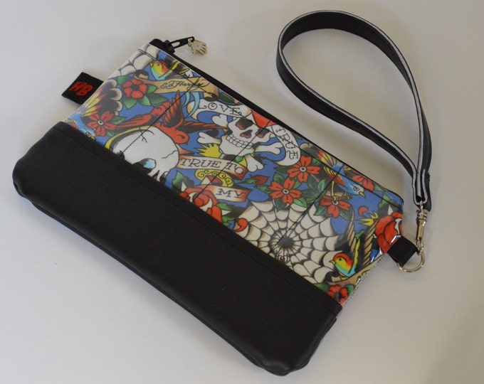 Unique Handmade Tattoo Print Wristlet With Strap